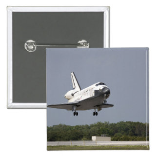 Space Shuttle Discovery approaches landing 2 2 Inch Square Button