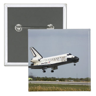 Space Shuttle Discovery approaches landing 3 2 Inch Square Button