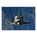 Space Shuttle Discovery Approaching ISS Poster