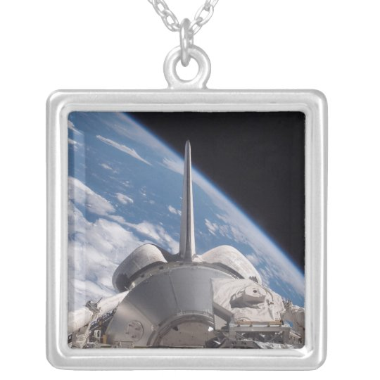 Space Shuttle Discovery backdropped by Earth Silver Plated Necklace