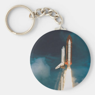 Space Shuttle Discovery Blast Off Basic Round Button Keychain