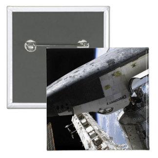 Space Shuttle Discovery docked 2 Inch Square Button