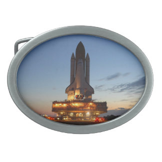 Space Shuttle Discovery on launch pad Oval Belt Buckle