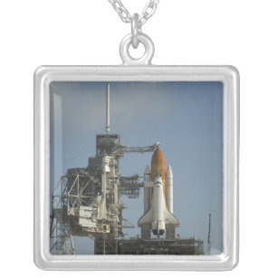 Space Shuttle Discovery sits ready 2 Silver Plated Necklace