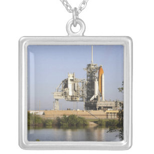 Space Shuttle Discovery sits ready 3 Silver Plated Necklace