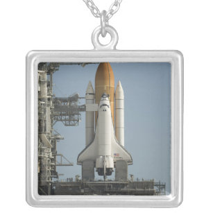 Space Shuttle Discovery sits ready Silver Plated Necklace