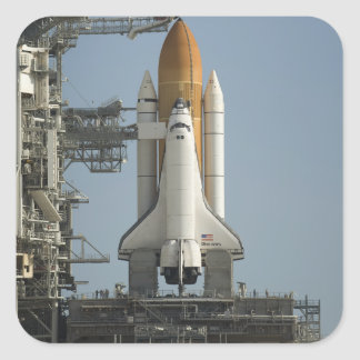 Space Shuttle Discovery sits ready Square Sticker