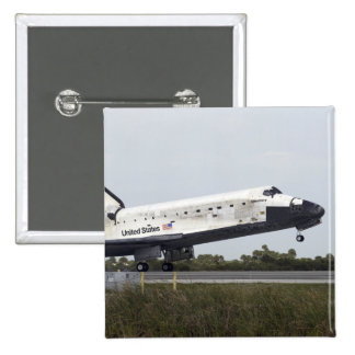 Space Shuttle Discovery touches down 2 Inch Square Button