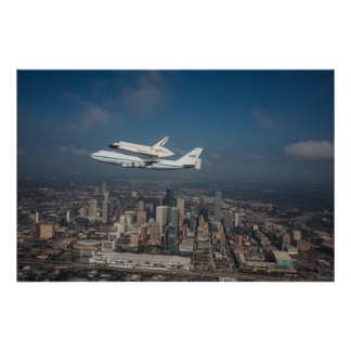 Space Shuttle Endeavor over Houston Texas Poster