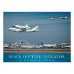 Space Shuttle Endeavor with jets poster 24x18