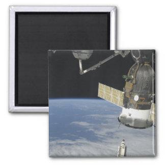 Space shuttle Endeavour, a Soyuz spacecraft Fridge Magnet