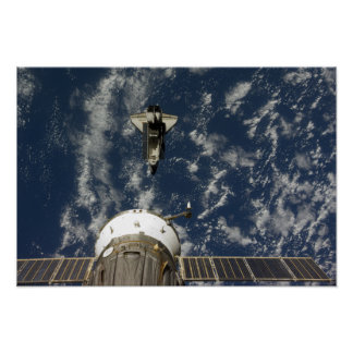 Space Shuttle Endeavour and a Soyuz spacecraft Print
