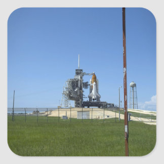 Space shuttle Endeavour is framed by a windsock Square Sticker