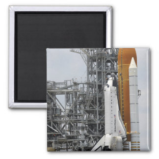 Space Shuttle Endeavour on the launch pad 2 2 Inch Square Magnet
