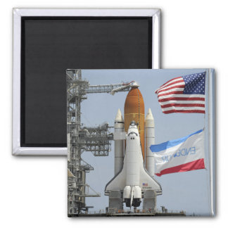 Space Shuttle Endeavour on the launch pad 3 2 Inch Square Magnet