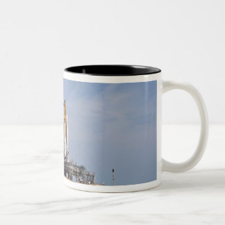 Space Shuttle Endeavour on the launch pad 4 Two-Tone Coffee Mug