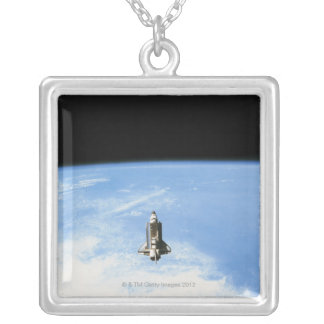 Space Shuttle in Orbit 3 Square Pendant Necklace