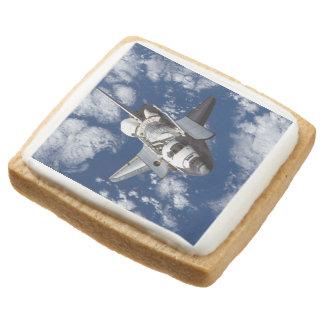 Space Shuttle In Orbit Square Premium Shortbread Cookie