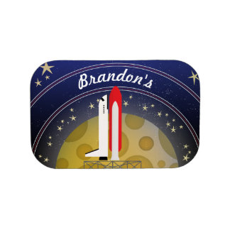 Space Shuttle Kid's Lunch Box Curved Text Name
