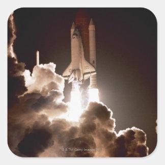 Space shuttle launch square sticker