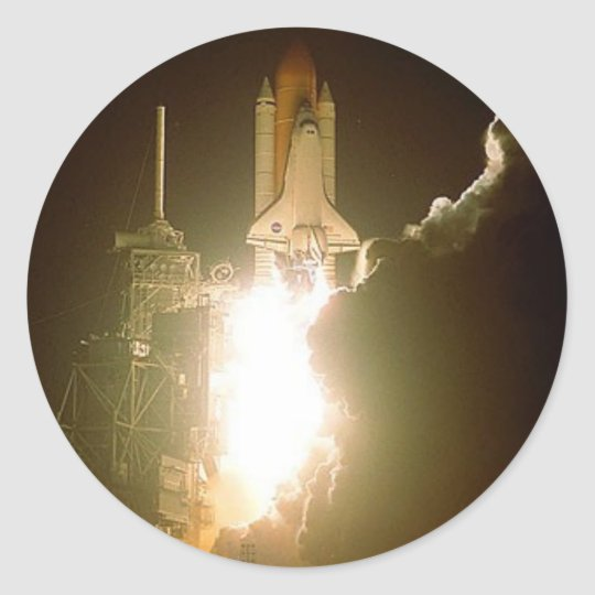 SPACE SHUTTLE LIFT-OFF CLASSIC ROUND STICKER