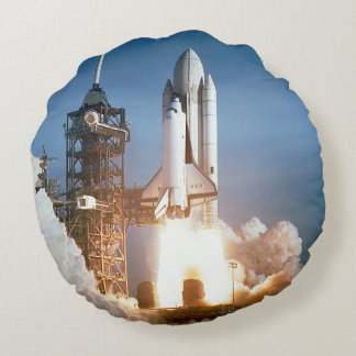 Space Shuttle Lifts Off Round Pillow