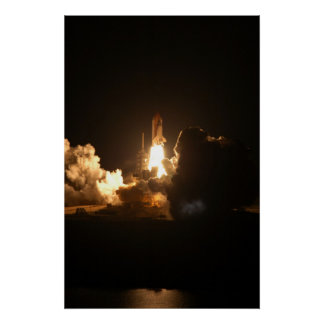 Space Shuttle Night Launch Poster/Print