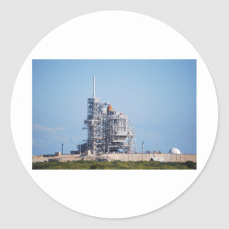 Space Shuttle on Launch Pad Classic Round Sticker