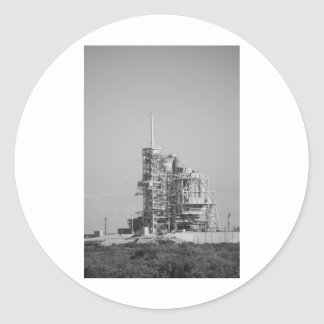 Space Shuttle on Launch Pad in Black and White Classic Round Sticker