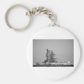 Space Shuttle on Launch Pad in Black and White Keychain