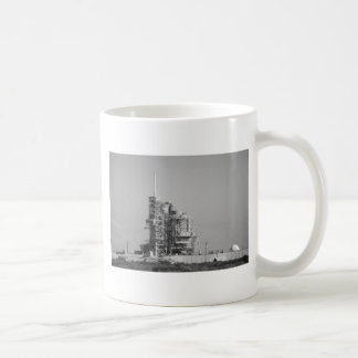 Space Shuttle on Launch Pad in Black and White Coffee Mug