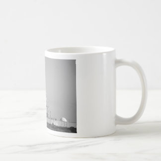 Space Shuttle on Launch Pad in Black and White Mug