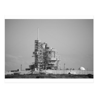 Space Shuttle on Launch Pad in Black and White Post Card