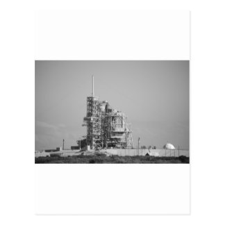 Space Shuttle on Launch Pad in Black and White Postcard