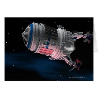 Space Shuttle Orbiting Mars Greeting Card