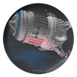 Space Shuttle Orbiting Mars Dinner Plate