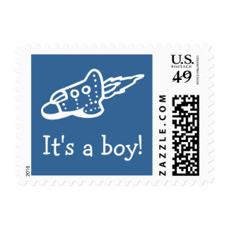 Space shuttle postage stamps for baby shower boy