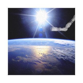 Space Shuttle Robot Arm Earth Orbit Sunburst Canvas Print