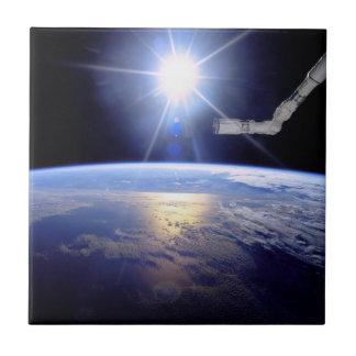 Space Shuttle Robot Arm Earth Orbit Sunburst Ceramic Tile