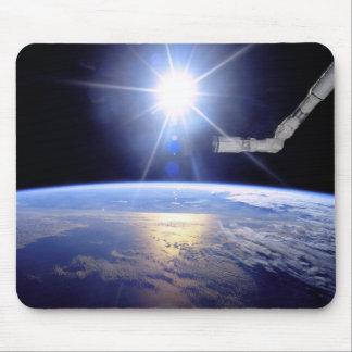 Space Shuttle Robot Arm Earth Orbit Sunburst Mouse Pad