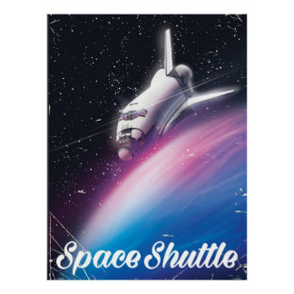 Space shuttle Science fiction space poster