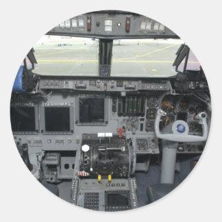 Space Shuttle Sim Aircraft Cockpit Classic Round Sticker