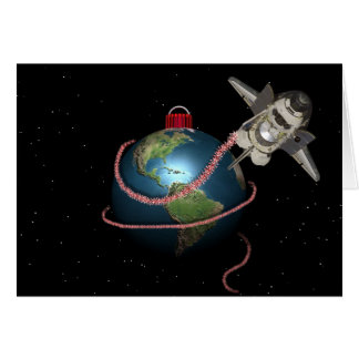 Space Shuttle STS Santa Christmas Greeting Card