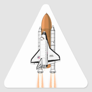 Space Shuttle Thrusting into Space Triangle Sticker