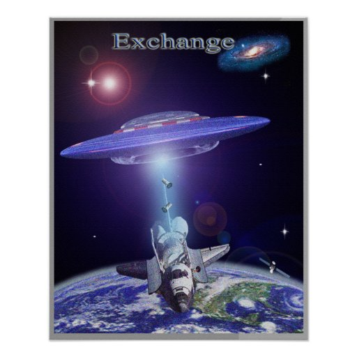 Space shuttle ufo exchange poster