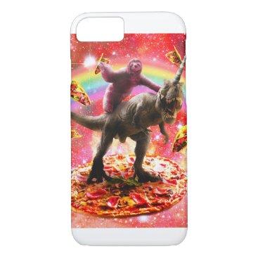 Space Sloth Riding Dinosaur Unicorn - Pizza & Taco iPhone 8/7 Case