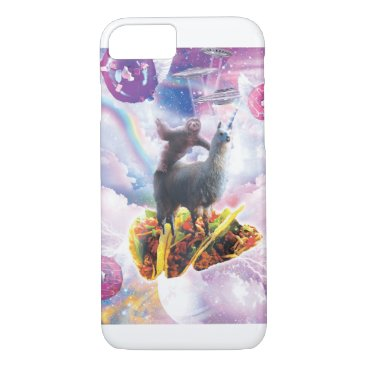 Space Sloth Riding Llama Unicorn - Taco & Donut iPhone 8/7 Case