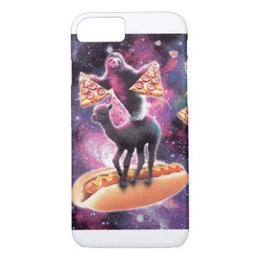 Space Sloth With Pizza On Alpaca Riding Hotdog iPhone 8/7 Case