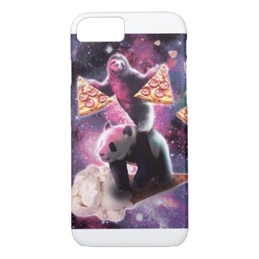 Space Sloth With Pizza On Panda Riding Ice Cream iPhone 8/7 Case