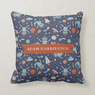 Space Sloths - Custom Name Throw Pillow